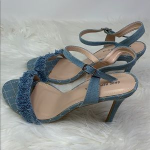 New Shoe Republic LA blue denim heels size 10